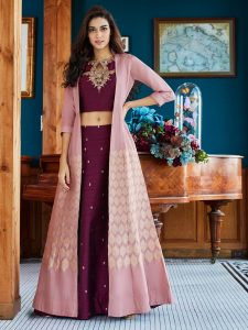 Maroon Wine Jacket Style Raw Silk Festive Bridal Lehenga Choli